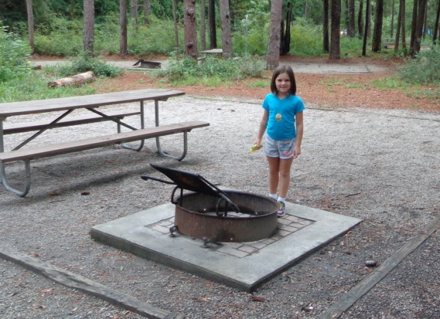 Kaitlin surveys the campsite for the first time. Are those rain clouds on the horizon?